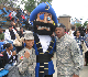 Cadet Martin, The HU Pirate Mascot, and LTC Hopkins posing for a pic